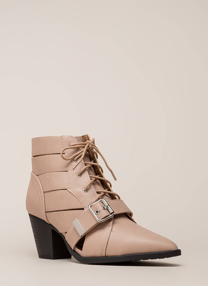 Need To Vent Strappy Lace-Up Booties NUDE