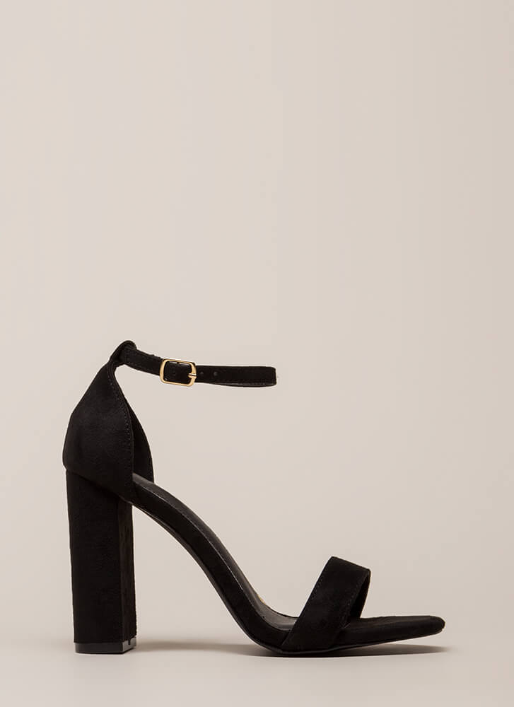 First Choice Chunky Faux Suede Heels BLACK (You Saved $16)