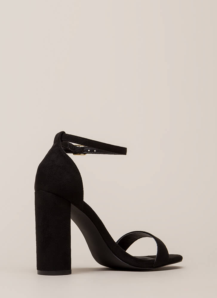 First Choice Chunky Faux Suede Heels BLACK