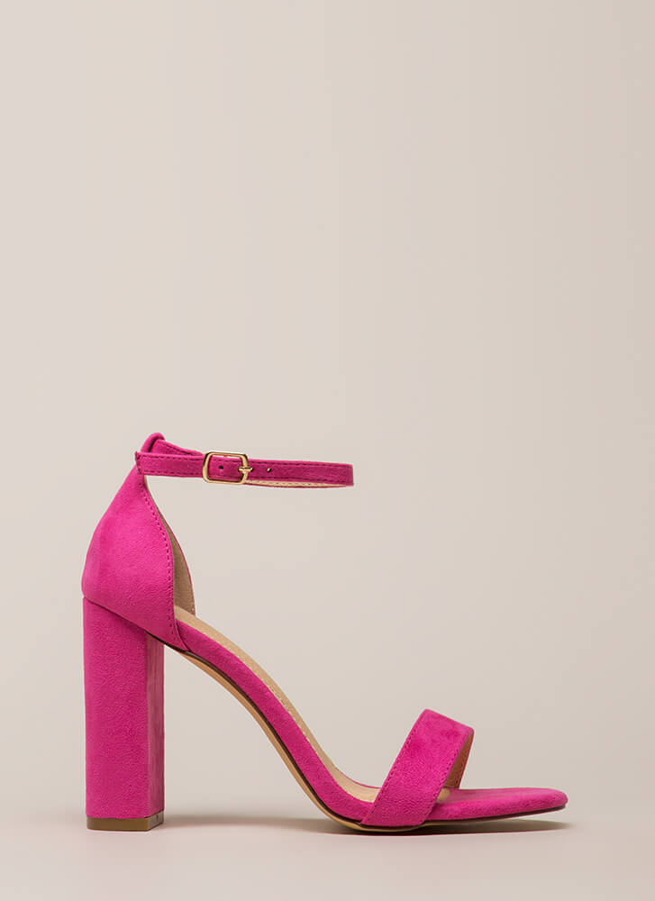 First Choice Chunky Faux Suede Heels FUCHSIA (You Saved $16)