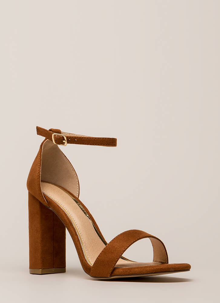 First Choice Chunky Faux Suede Heels TAN