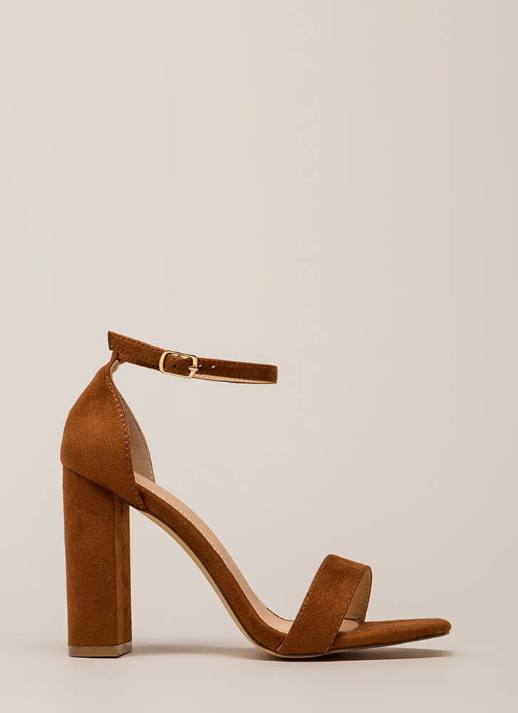 First Choice Chunky Faux Suede Heels TAN (You Saved $16)
