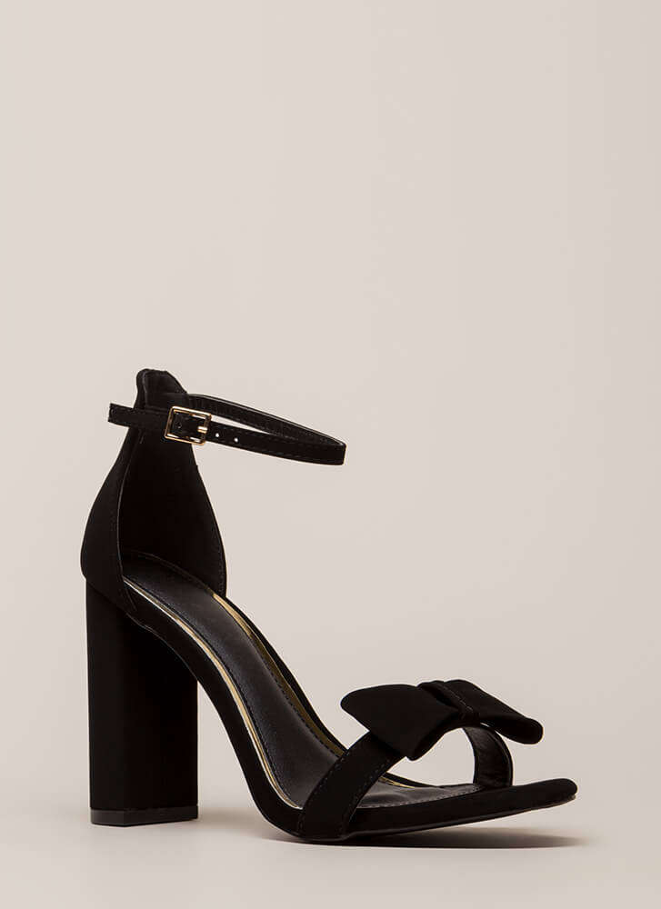 Bow In Love Chunky Ankle Strap Heels BLACK