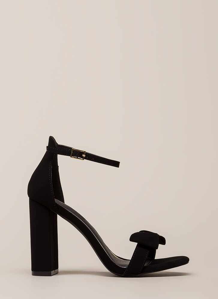 Bow In Love Chunky Ankle Strap Heels BLACK (Final Sale)