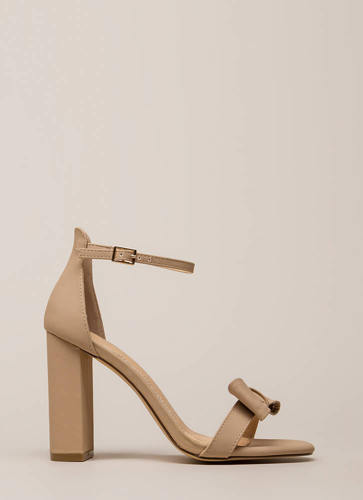 Bow In Love Chunky Ankle Strap Heels NUDE