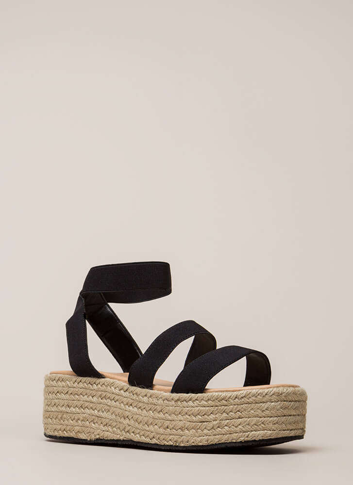 Beachy Keen Strappy Espadrille Sandals BLACK (You Saved $17)