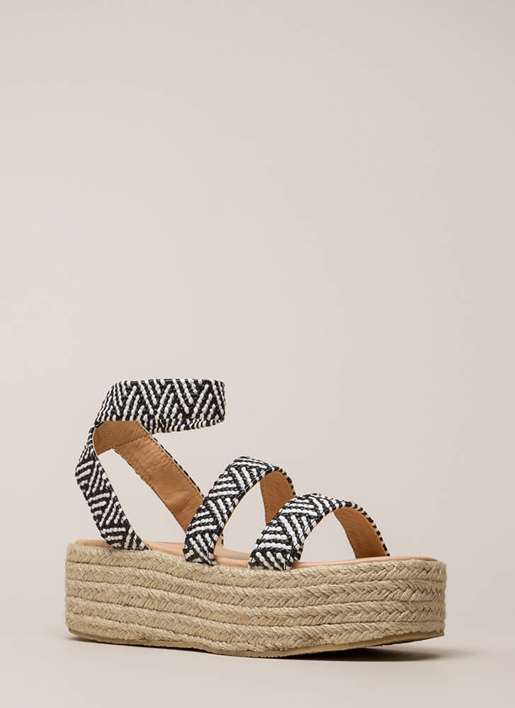 Beachy Keen Strappy Espadrille Sandals BLACKWHITE (You Saved $17)