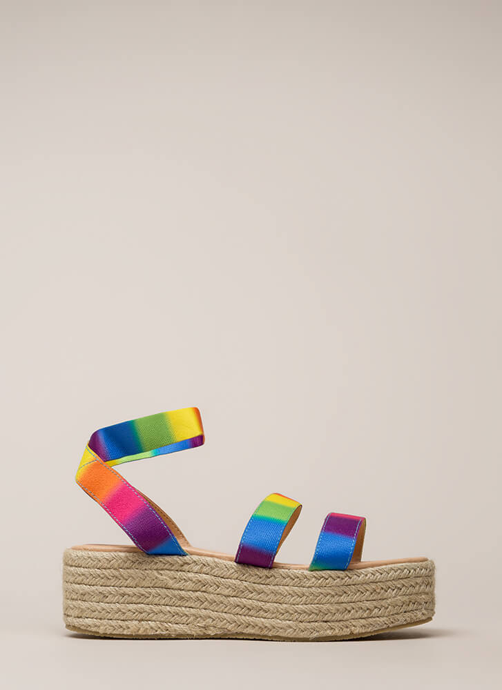 Beachy Keen Strappy Espadrille Sandals MULTI