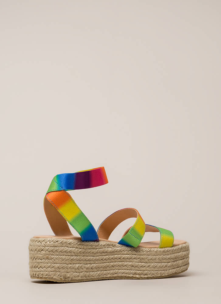Beachy Keen Strappy Espadrille Sandals MULTI (You Saved $17)