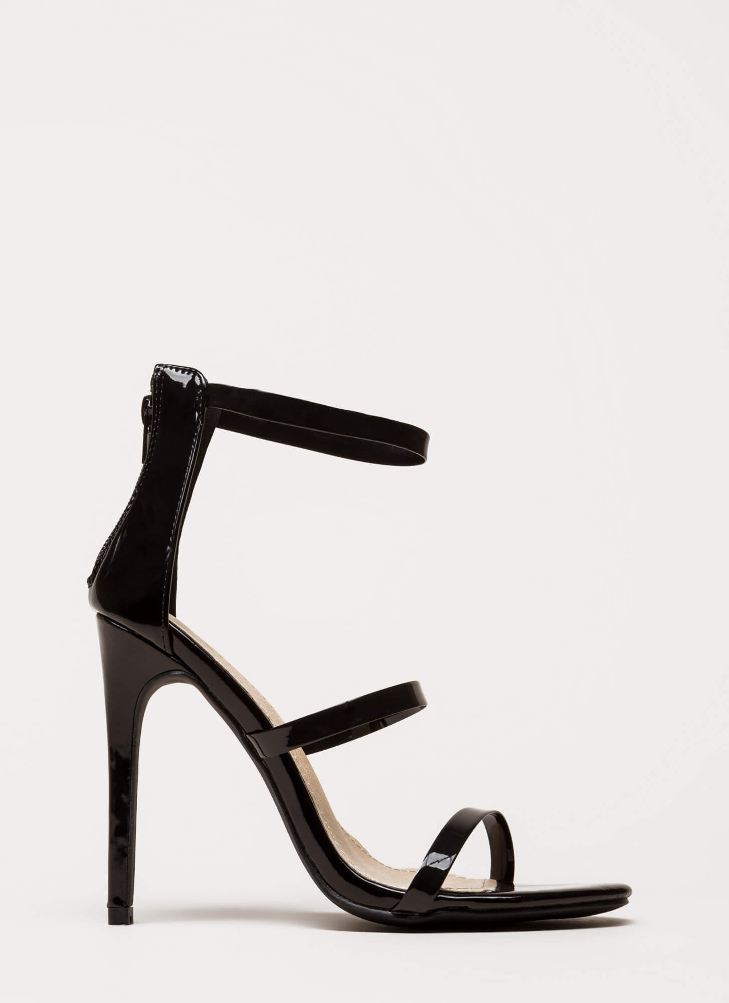Clear As Day Strappy Stiletto Heels BLACK