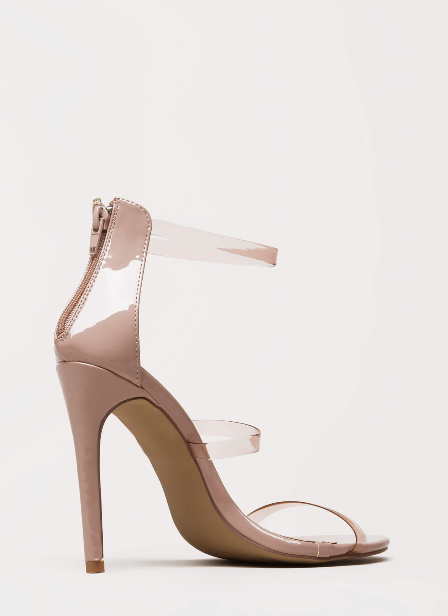 Clear As Day Strappy Stiletto Heels NUDE