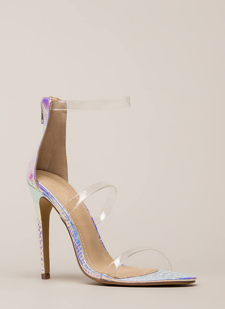 Clear As Day Strappy Holographic Heels PINK