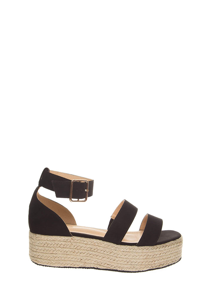 Beach Day Faux Suede Espadrille Sandals BLACK (You Saved $19)