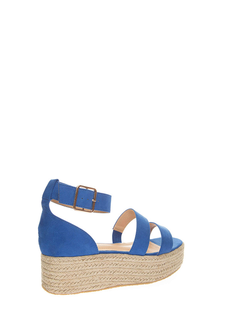 Beach Day Faux Suede Espadrille Sandals BLUE