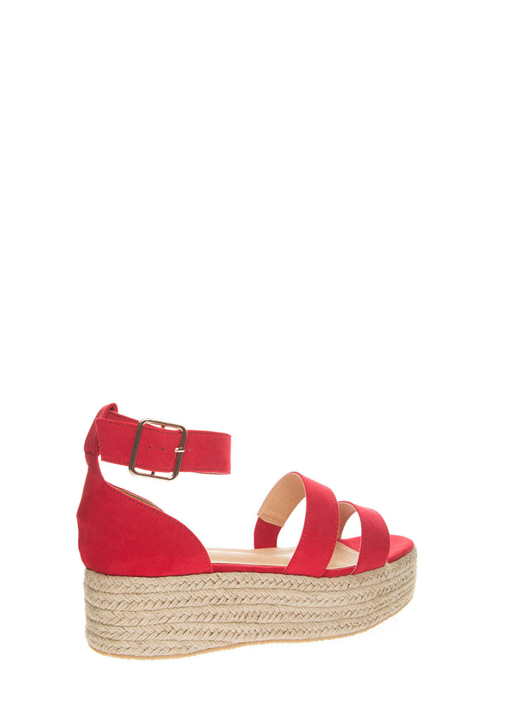 Beach Day Faux Suede Espadrille Sandals RED