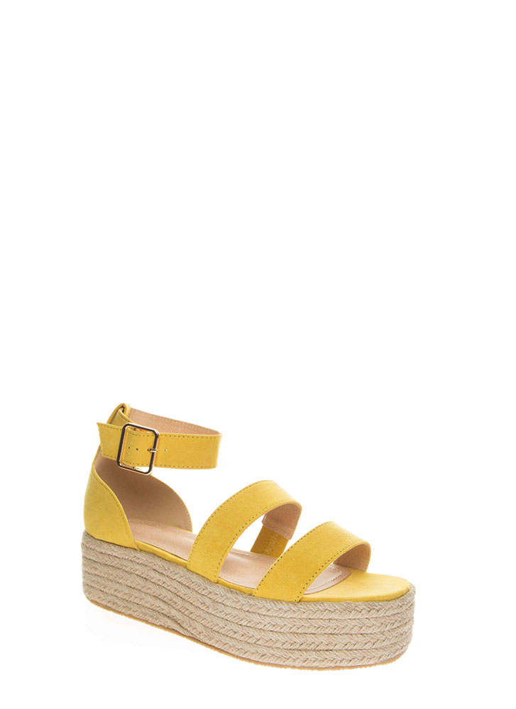 fd523febdd3 Beach Day Faux Suede Espadrille Sandals YELLOW (You Saved  19) ...