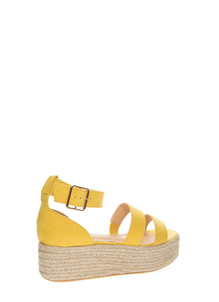 Beach Day Faux Suede Espadrille Sandals YELLOW