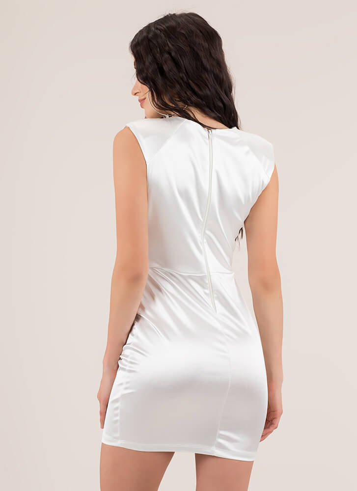 Crystal Clear Jeweled Satin Minidress WHITE