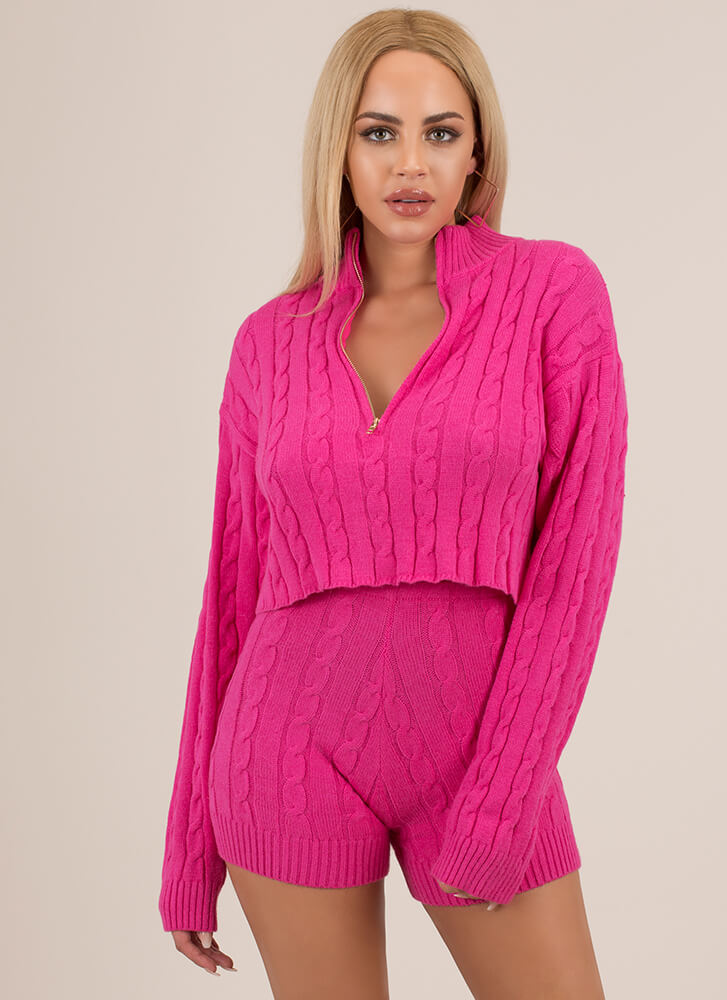 Cable Show Knit Sweater And Shorts Set NEONPINK (Final Sale)