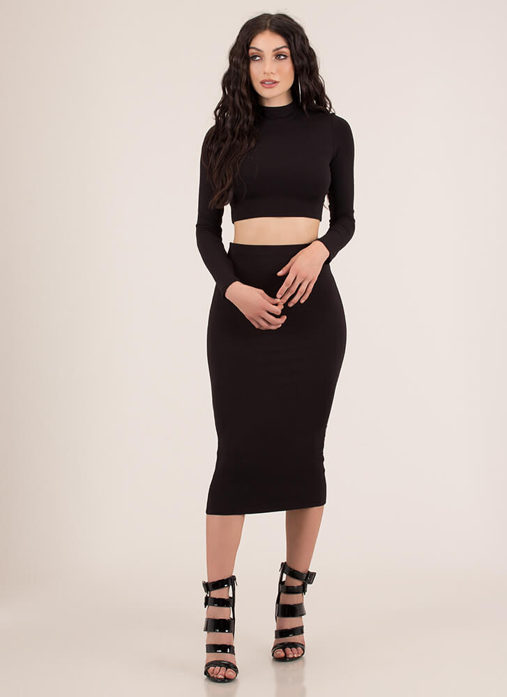 The Perfect 'Fit Top And Skirt Set BLACK