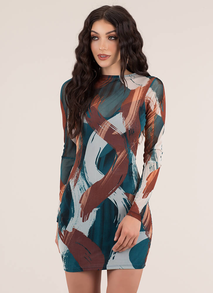 Brush You Off Abstract Print Dress TEALMULTI