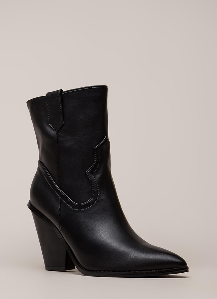 Cowgirl Chic Chunky Pointy Booties BLACK
