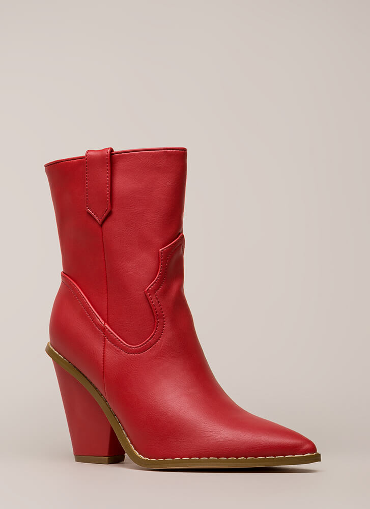 Cowgirl Chic Chunky Pointy Booties RED