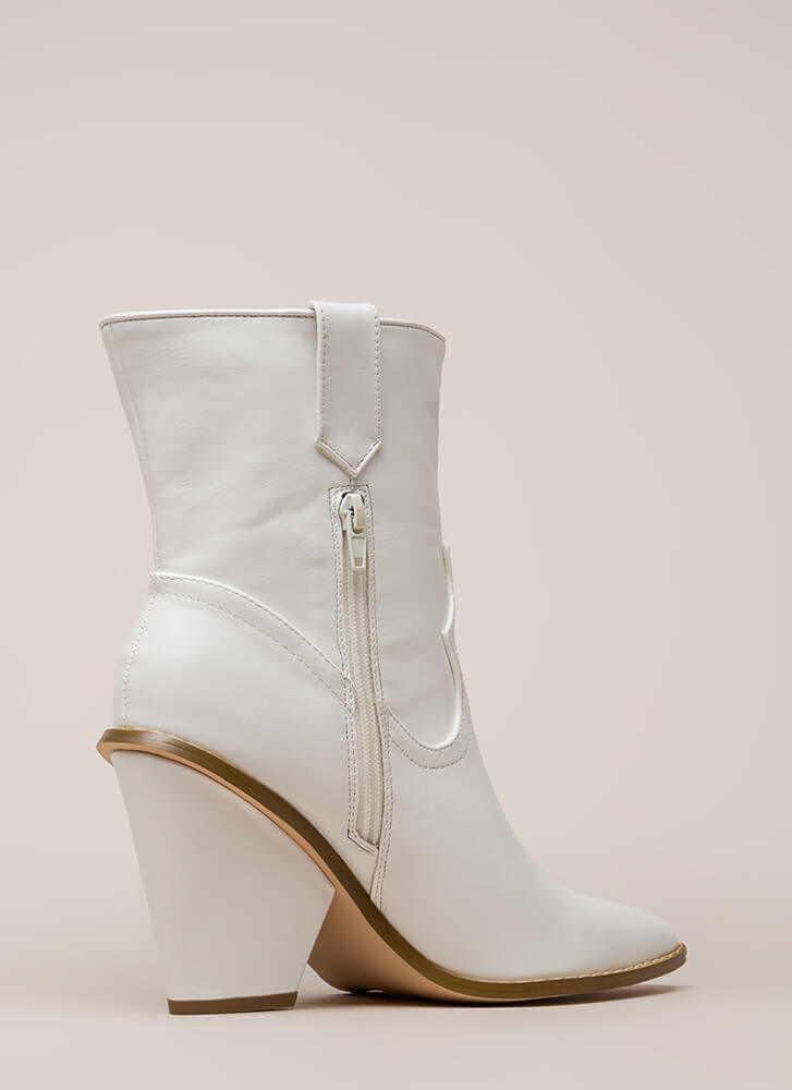 Cowgirl Chic Chunky Pointy Booties WHITE