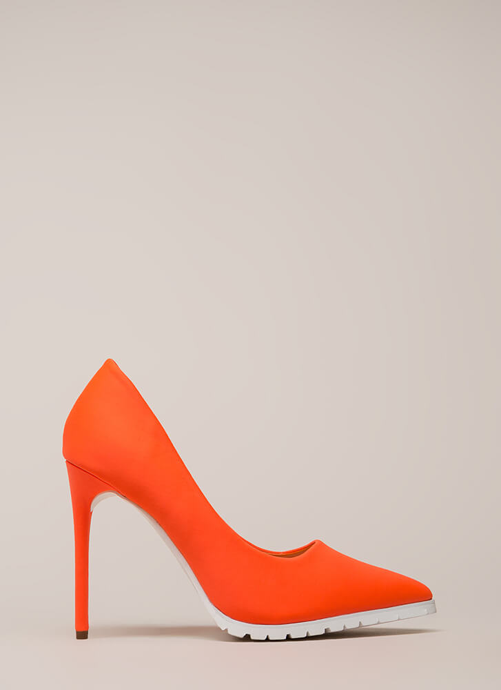 All You Need Is Lug Pointy Pumps ORANGE