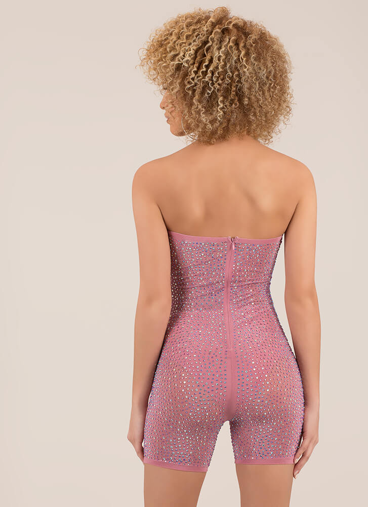 Mesh Party Strapless Jeweled Romper MAUVE (You Saved $40)