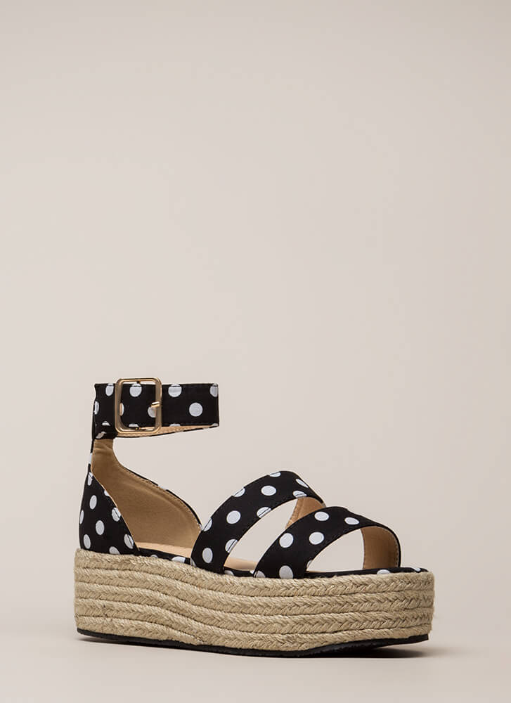 Beach Day Polka Dot Espadrille Sandals BLACK