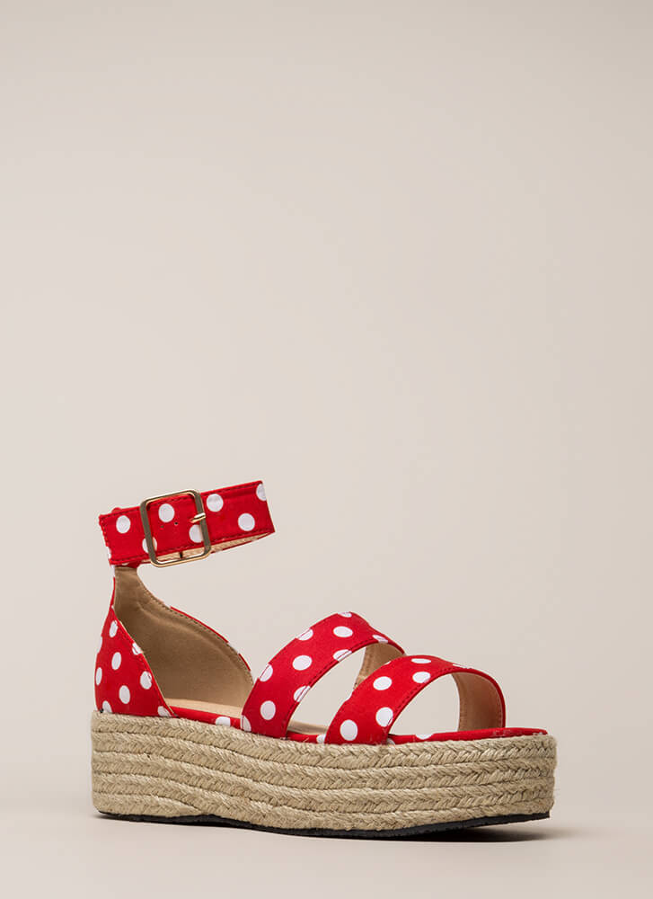 Beach Day Polka Dot Espadrille Sandals RED