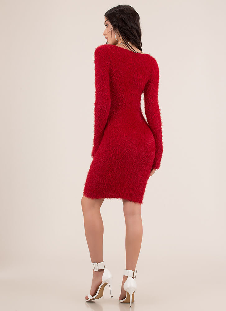 Fuzzy Memory Furry Sweater Dress RED