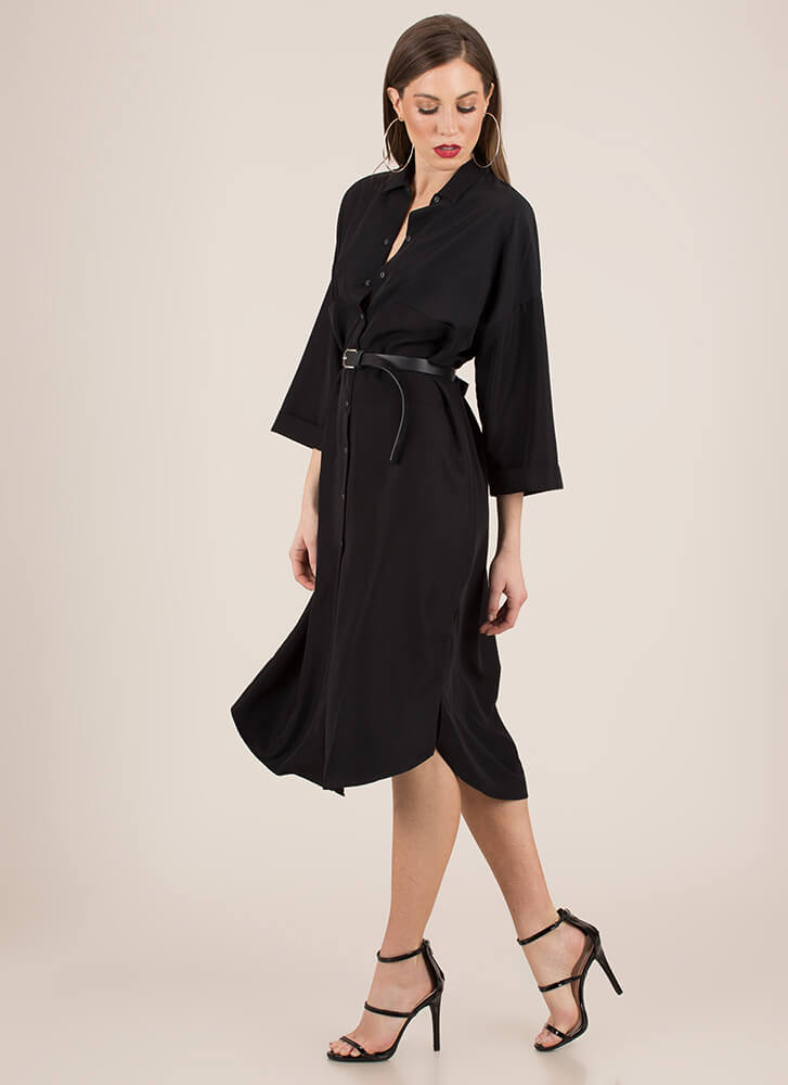 Cool And Casual Snap Button Shirt Dress BLACK