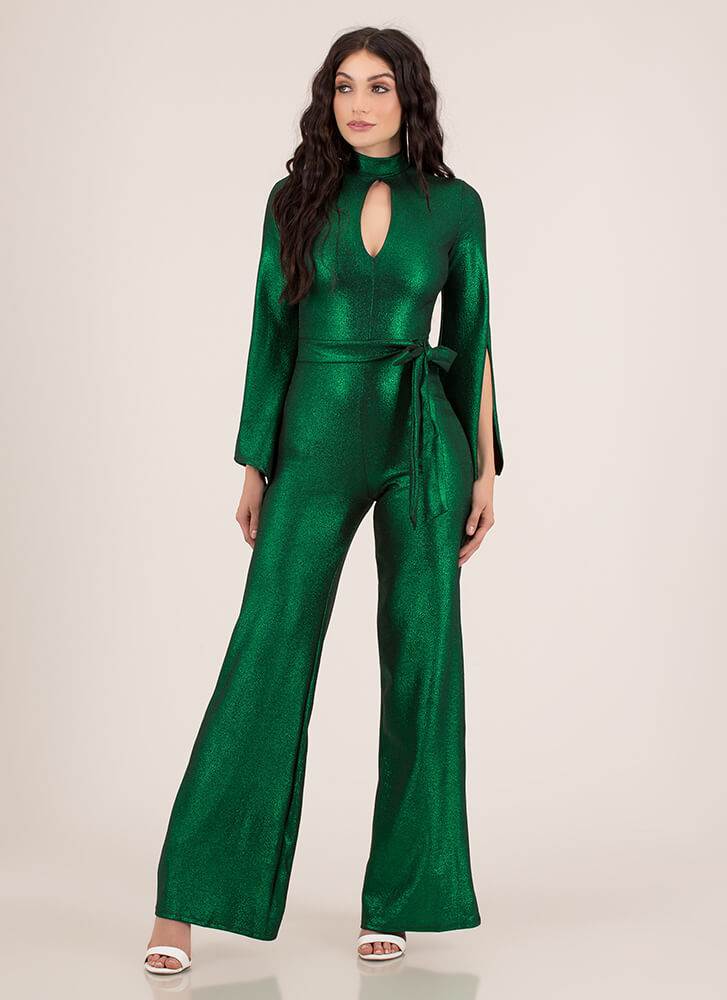 One And Only Shiny Slit Sleeve Jumpsuit GREEN