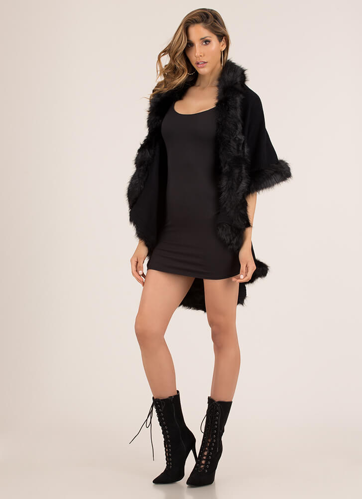 Night On The Town Faux Fur Poncho BLACK (You Saved $31)