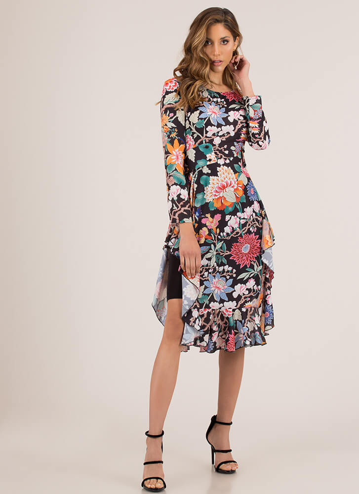 Botanical Beauty Floral High-Low Top BLACKMULTI