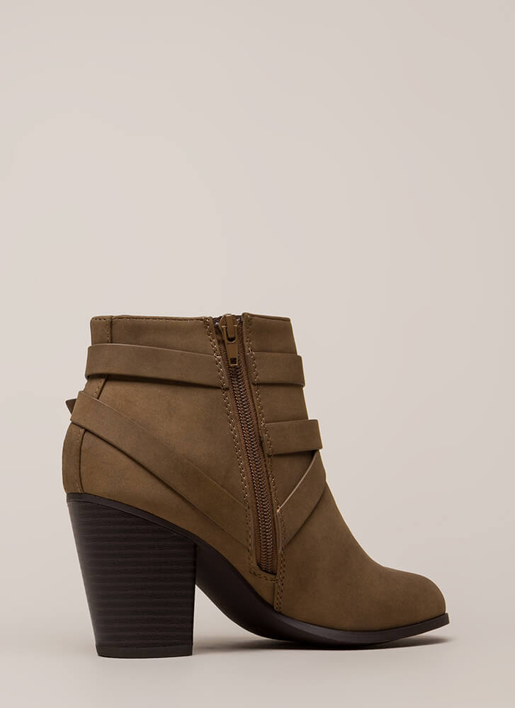 Wrapped Around The Block Strappy Booties LTBROWN