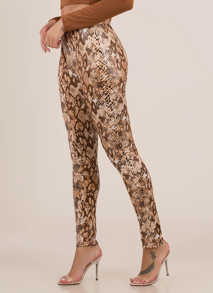 Let's Snake On It Coated Leggings BROWN (You Saved $13)