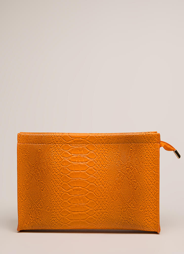 Snake Things Up Reptile Scale Clutch ORANGE