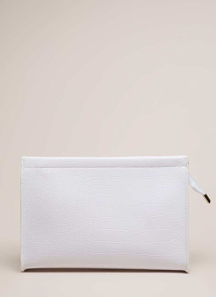 Snake Things Up Reptile Scale Clutch WHITE