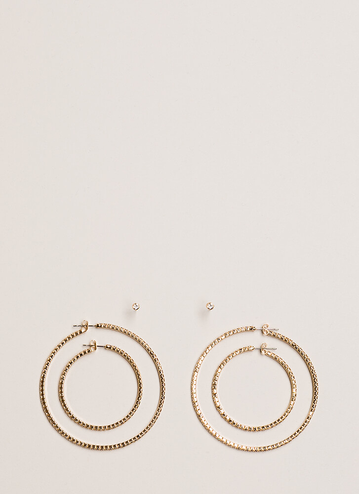 Special Sparkle Jeweled Hoop Earring Set GOLD