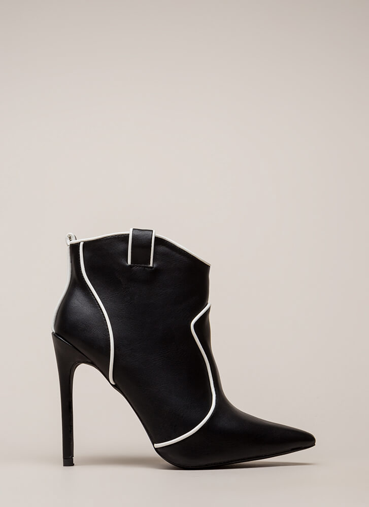 Piping Hot Pointy Stiletto Booties BLACK
