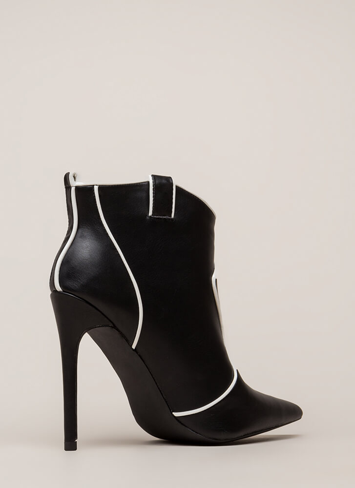 Piping Hot Pointy Stiletto Booties BLACK (You Saved $32)