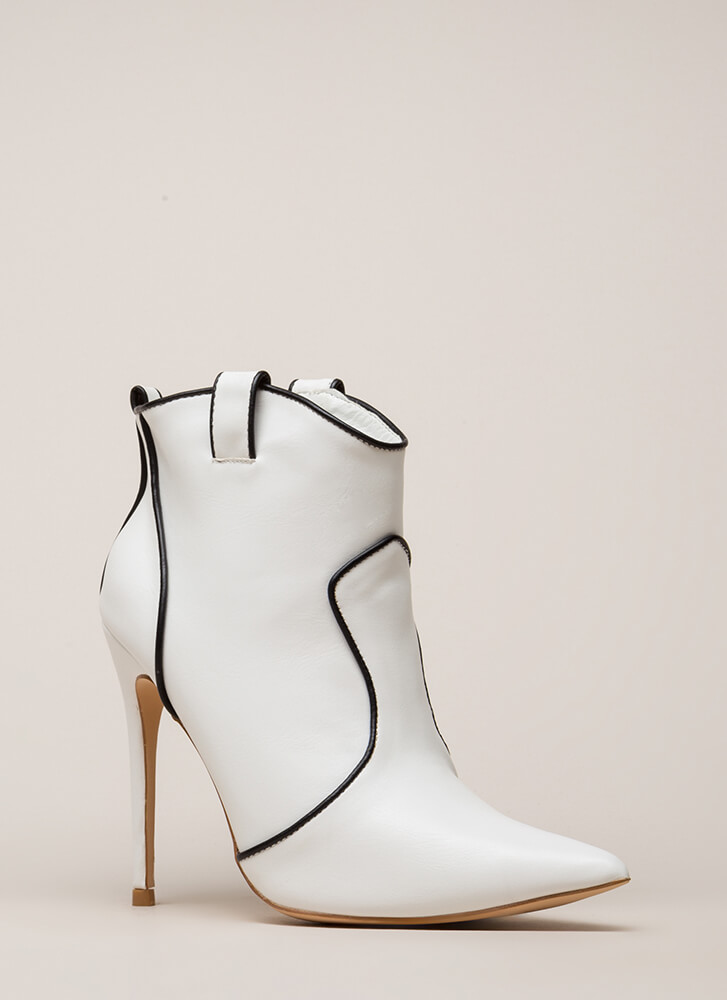 Piping Hot Pointy Stiletto Booties WHITE (You Saved $32)
