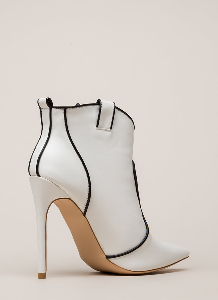 Piping Hot Pointy Stiletto Booties WHITE