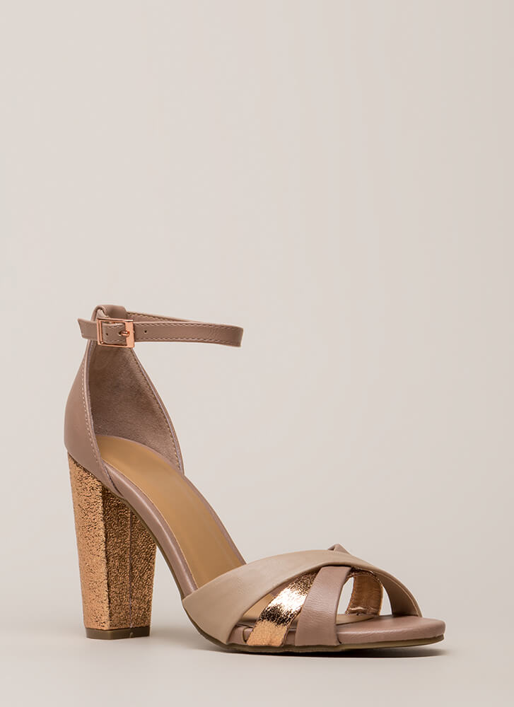 Foiled You Strappy Chunky Heels DKBLUSH