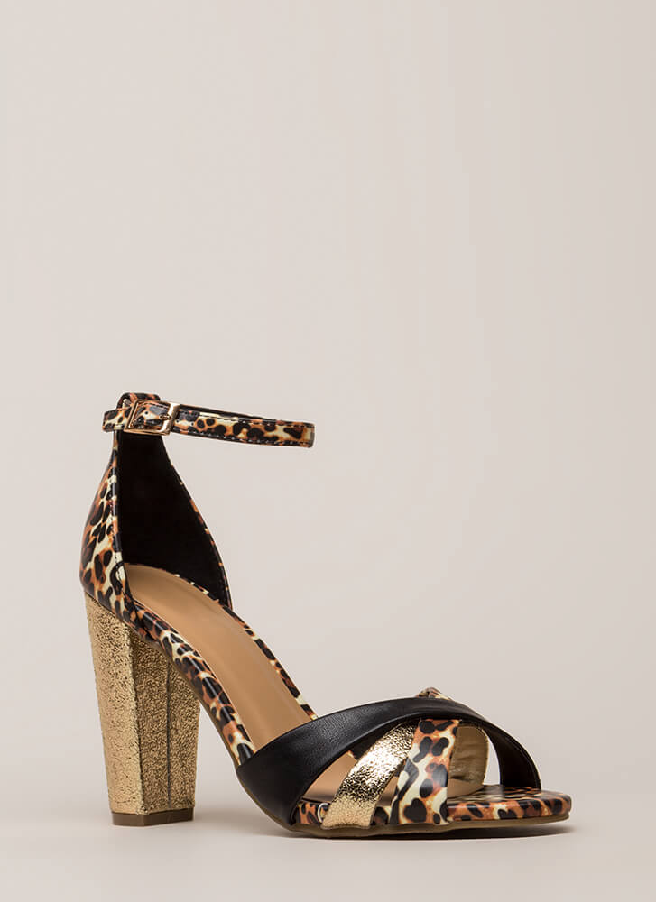 Foiled You Strappy Chunky Leopard Heels LEOPARD