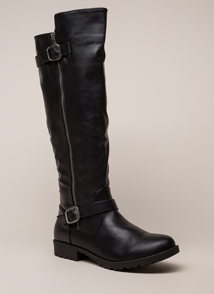 Say High Over-The-Knee Riding Boots BLACK