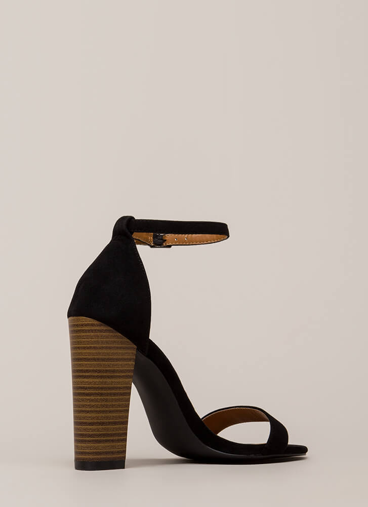 Lure Me In Chunky Ankle Strap Heels BLACK